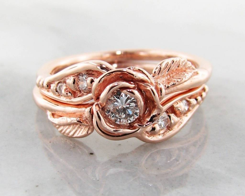Signature Rose Diamond Rose Gold Wedding Ring Set, Prize Tea Rose ...