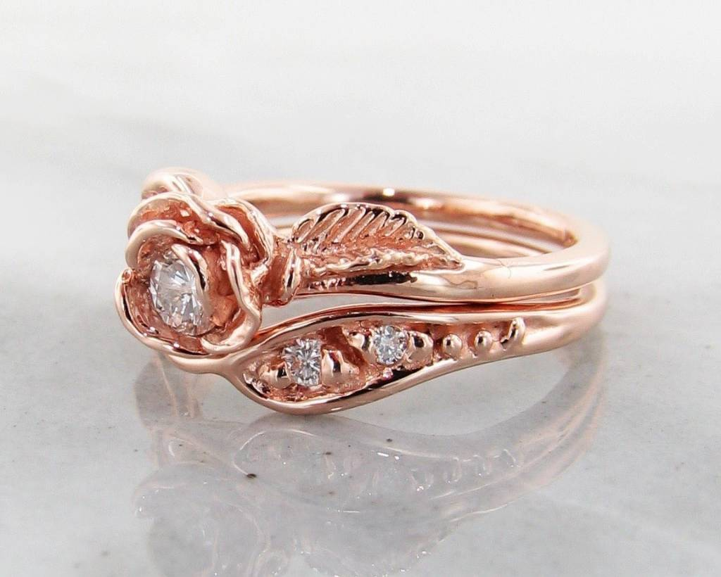 diamond rose gold wedding ring set, prize tea rose - wexford jewelers