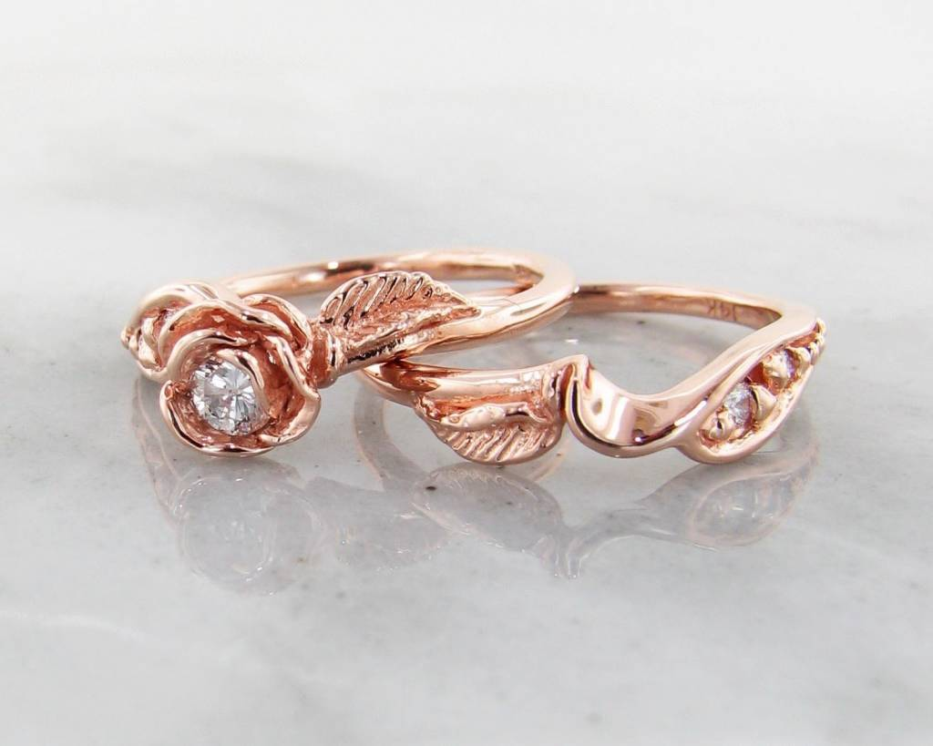 signature rose diamond rose gold wedding ring set prize tea rose - Rose Gold Wedding Ring Set