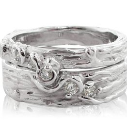 Organic Silver Diamond Ring, Birch Engagement Set