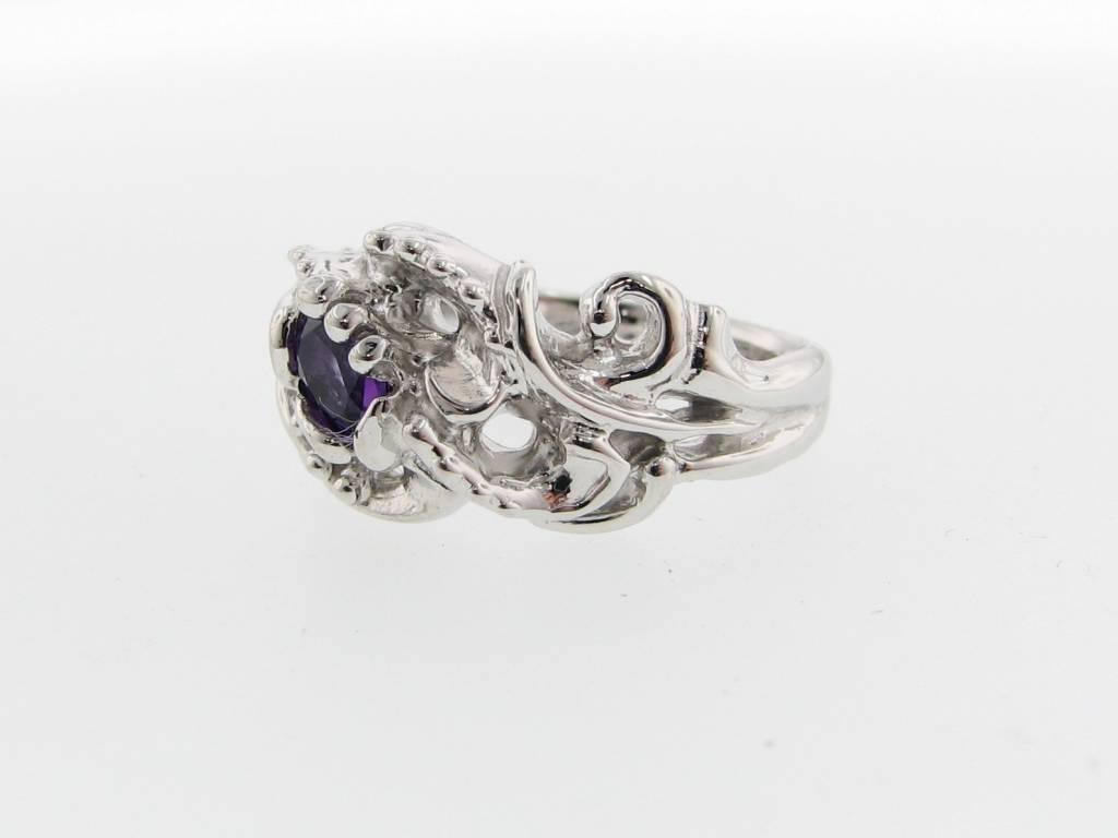 Undersea Amethyst Silver Ring, Undersea Swirl
