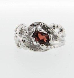 Undersea Silver Garnet Ring, Undersea Swirl