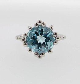 Vintage Sky Blue Topaz Silver Ring, Princess