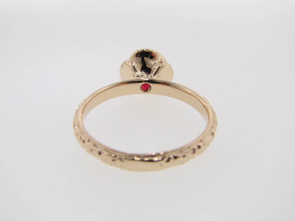 Signature Rose Ruby Yellow Gold Stacked Ring, Vintage Rose Solitaire