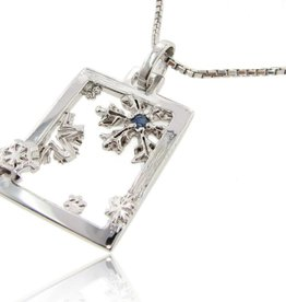 Snowflake Silver Blue Sapphire Snowflake Pendant, Winter Window