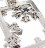 Snowflake Silver Blue Sapphire Snowflake Pendant, Winter Window