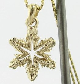 Snowflake Yellow Gold Snowflake Necklace, Ludington