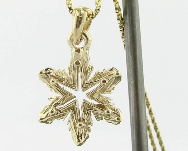 Snowflake Yellow Gold Snowflake Necklace, Ludington