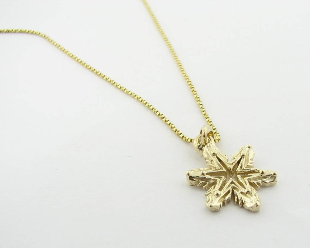Yellow gold snowflake necklace ludington wexford jewelers ludington snowflake yellow gold snowflake necklace aloadofball Image collections