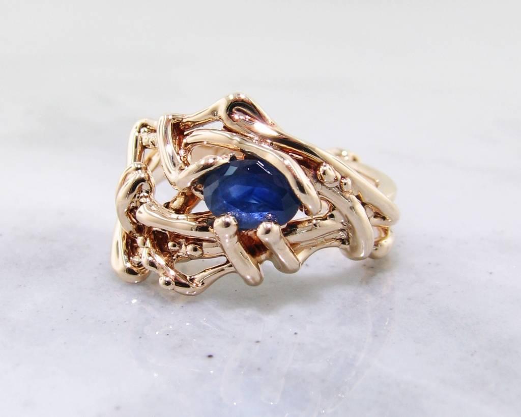 Organic Blue Sapphire, Yellow Gold Ring, Nest