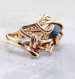 Organic Blue Sapphire, Yellow Gold Ring, Nest