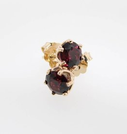 Vintage Rhodolite Garnet Yellow Gold Earrings, Princess