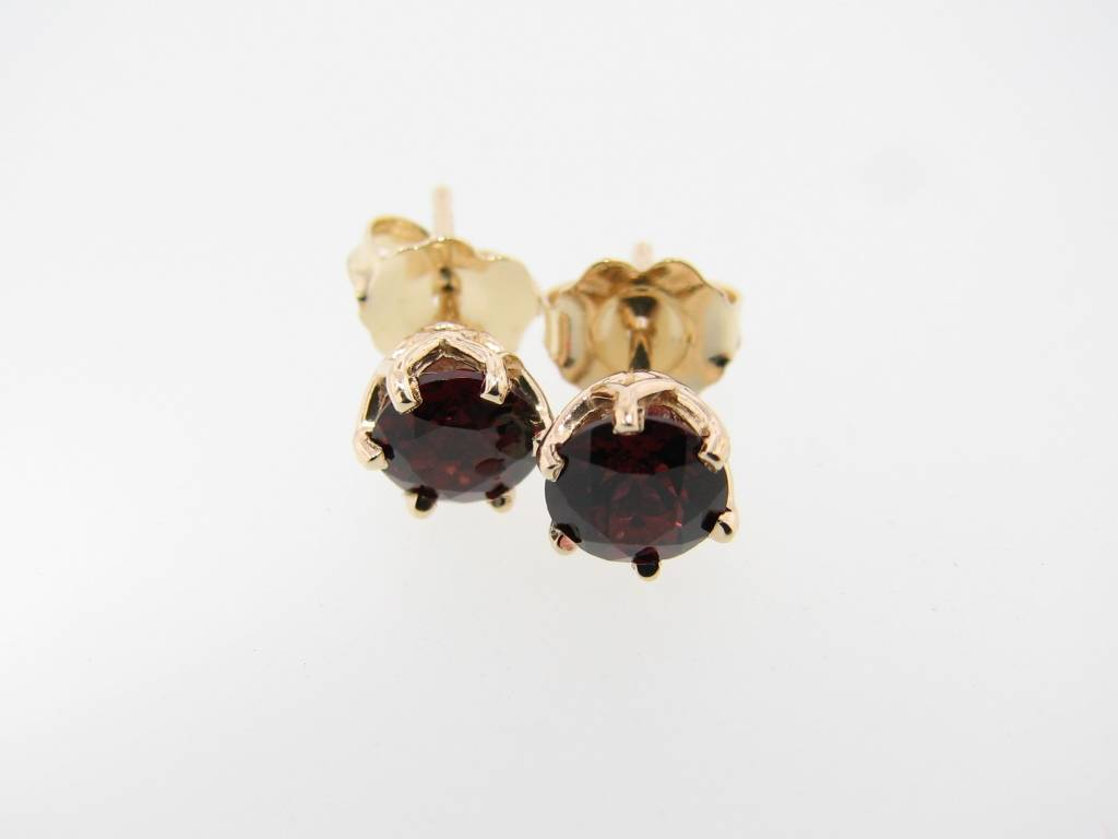 Vintage Rhodolite Garnet Yellow Gold Earrings, Princess