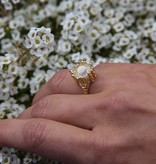 Organic Morganite Rose Gold Wedding Ring Set, Princess Ring