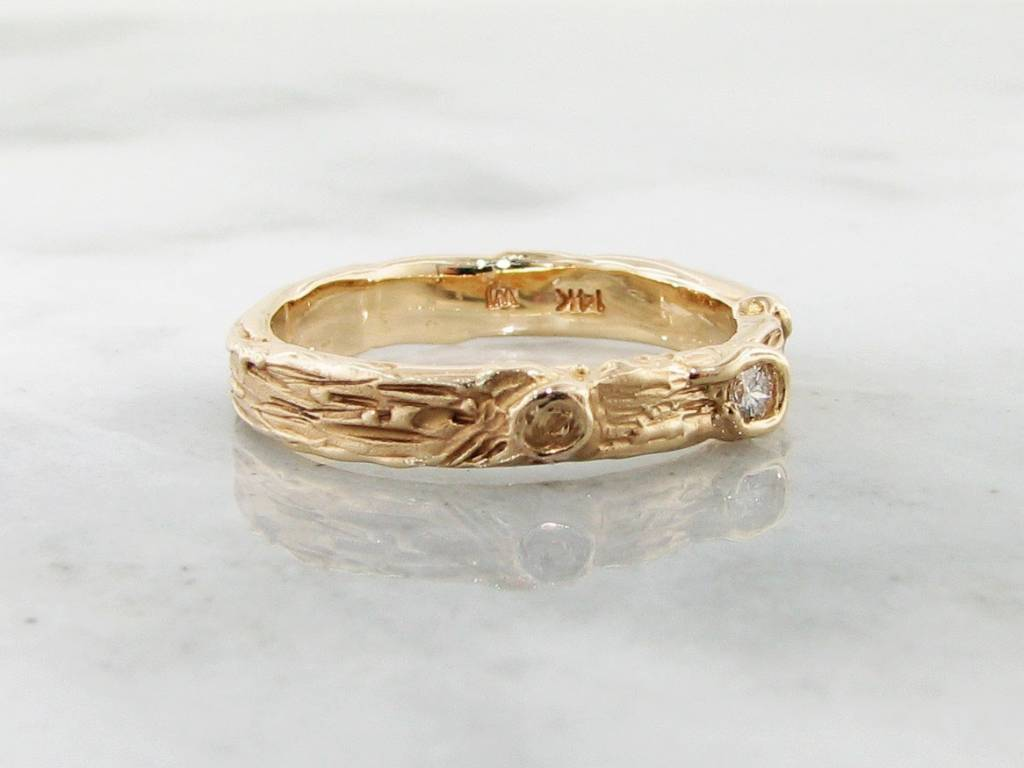Rustic Diamond Yellow Gold Ring, Birch Band