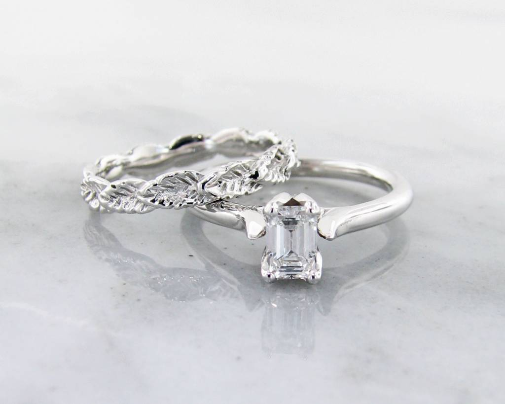 band white gold in wedding nl jewelry solitaire diamond sets emerald cut ring with wg eternity