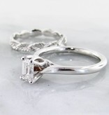 Timeless Bridal Diamond White Gold Solitaire Ring, Leaf Eternity Band, Emerald Cut