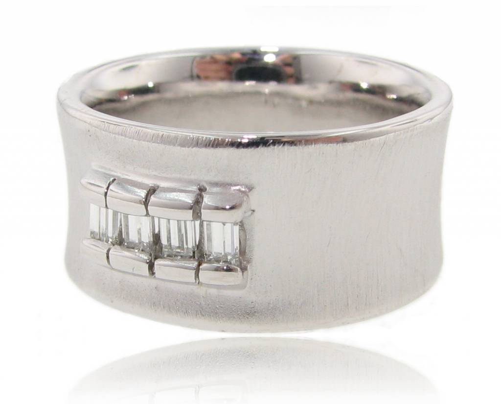 Sleek Diamond Baguette Silver Ring, The Curve