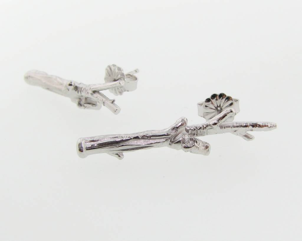 Rustic Silver Earrings, Twig