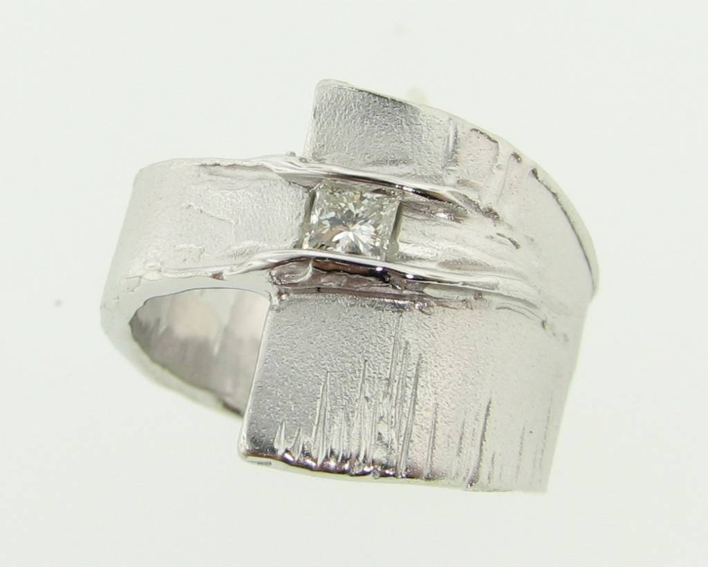 Rustic Princess Cut Diamond Silver Ring, Sequoia