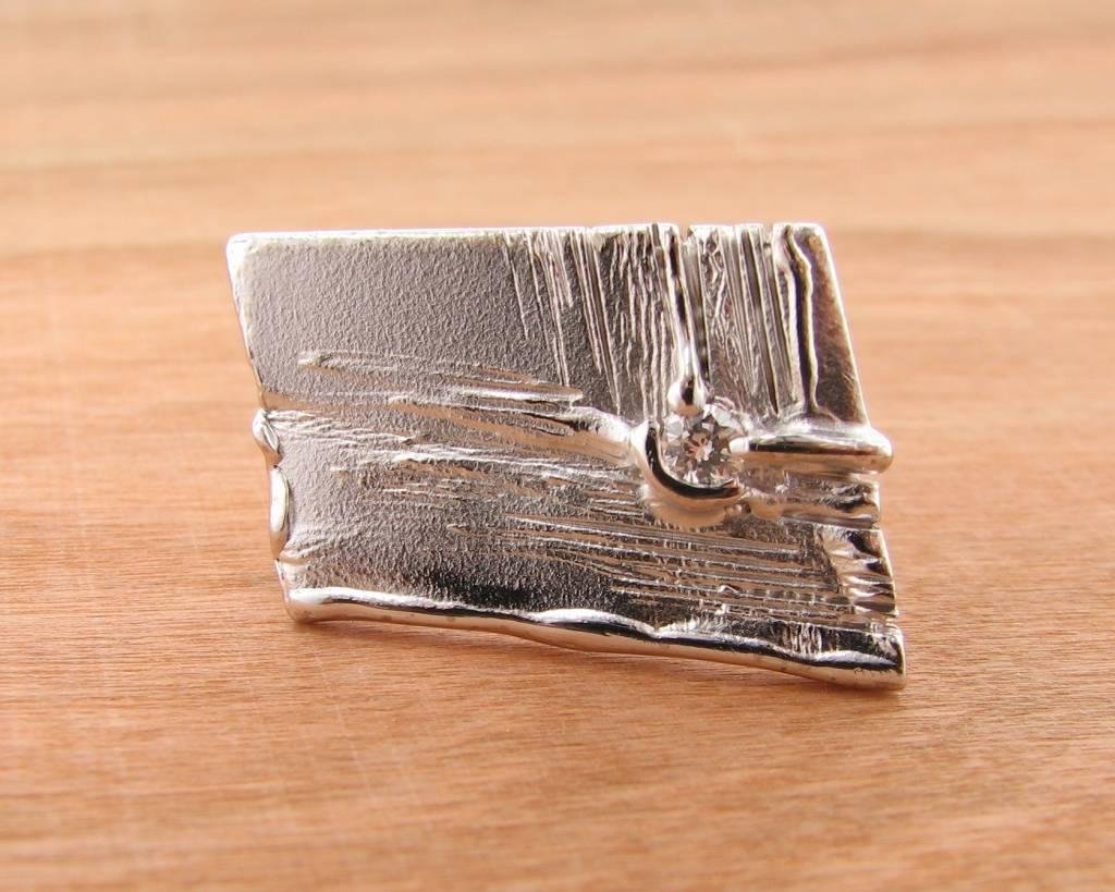 Rustic Silver Diamond Slab Ring, Continuing