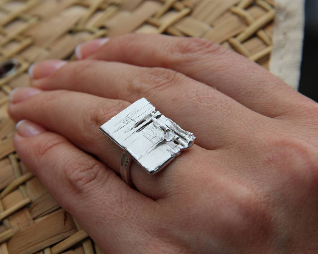 Rustic Silver Diamond Slab Ring, Continuing