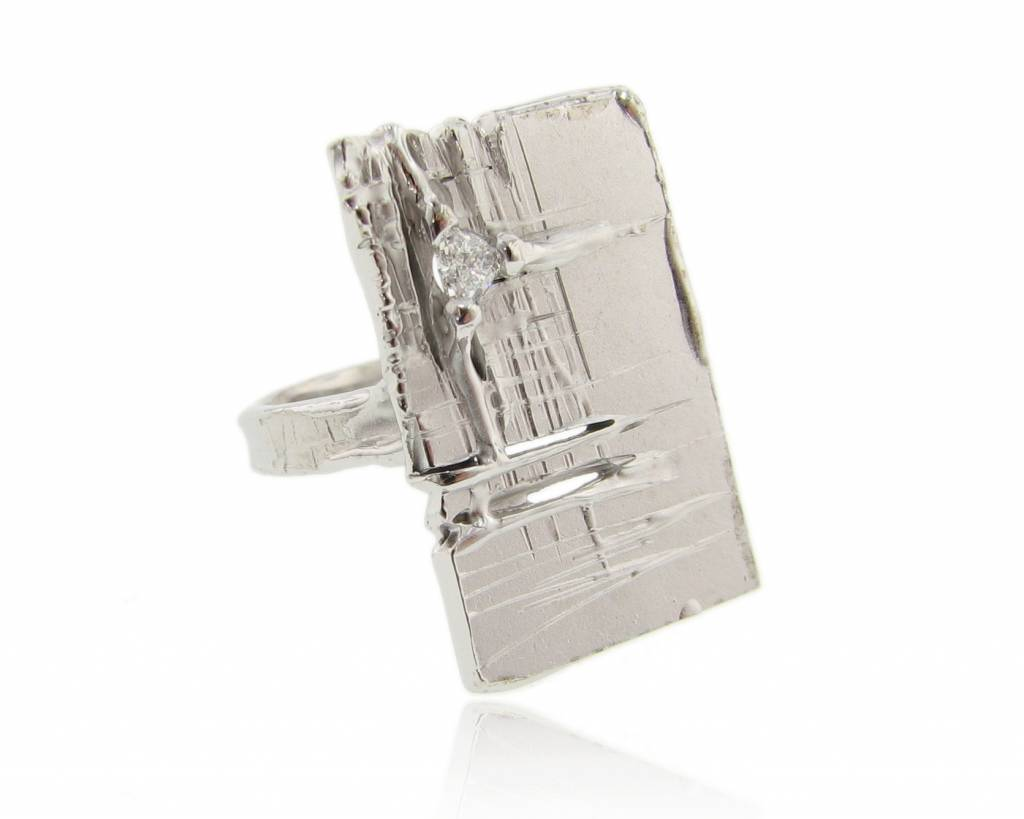 Rustic Silver Diamond Slab Ring, Rough Draft