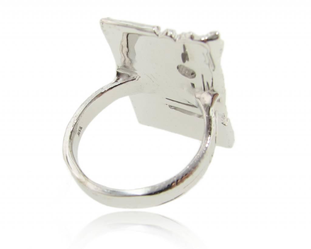 Rustic Silver Diamond Slab Ring, Rough Draft
