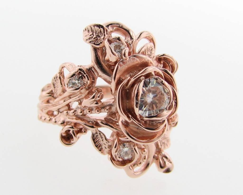 Signature Rose Rose Gold Moissanite Wedding Ring Set, Jane Rose