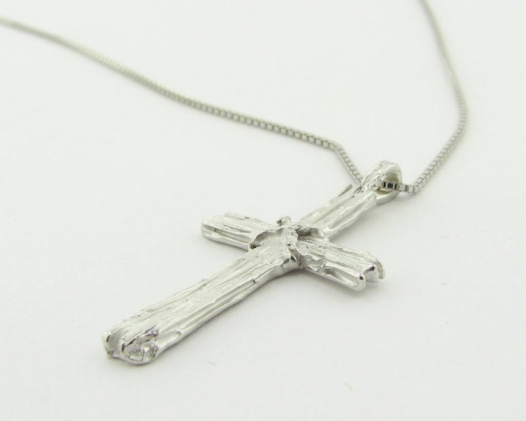 Rustic Silver Cross Necklace, Driftwood