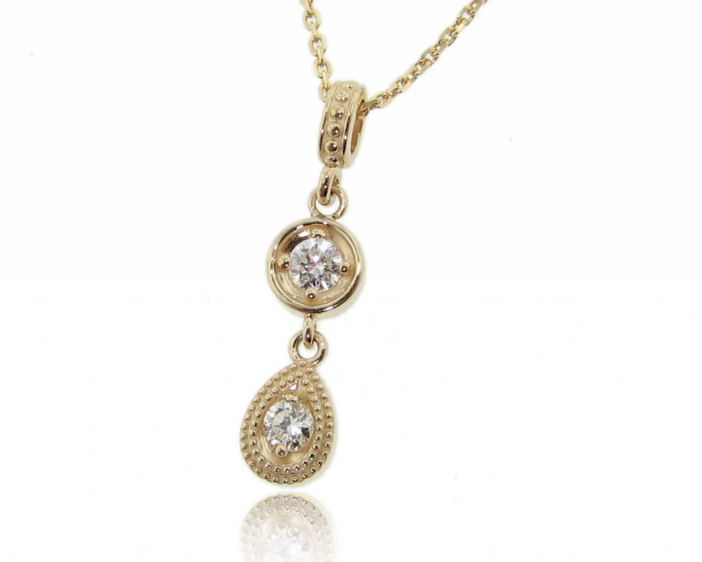 Vintage Diamond Yellow Gold Necklace, Double Drop
