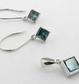 Sleek Blue Diamond White Gold Earrings & Necklace Set