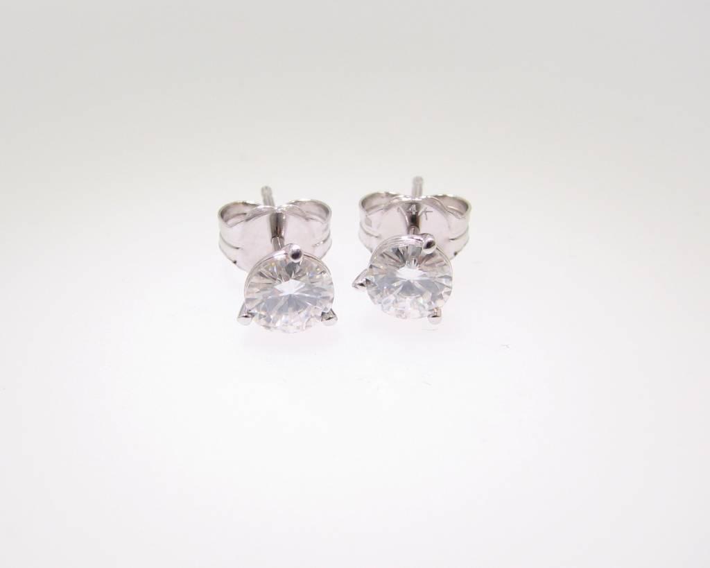 Vintage Moissanite White Gold Earring Studs