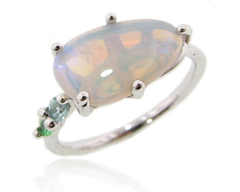 Organic Opal Silver Ring, Stained Glass