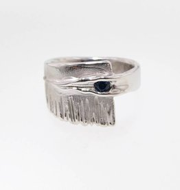 Rustic Sapphire Silver Ring, Sequoia
