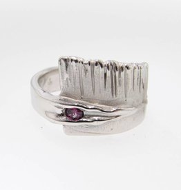 Rustic Purple Diamond Silver Ring, Sequoia