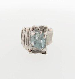 Rustic Raw Aquamarine Silver Ring, Silkture