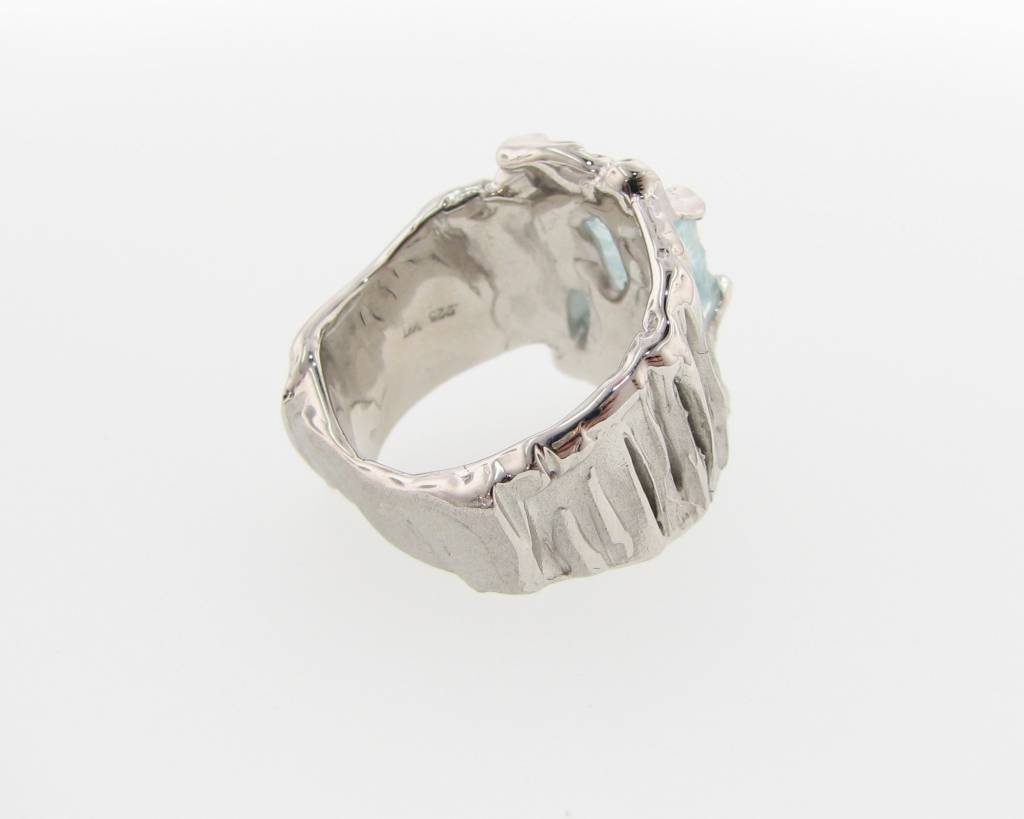 Rustic Raw Aquamarine Silver Ring, Silkture