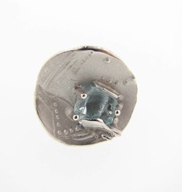 Rustic Raw Aquamarine Silver Ring, Encoded Discus