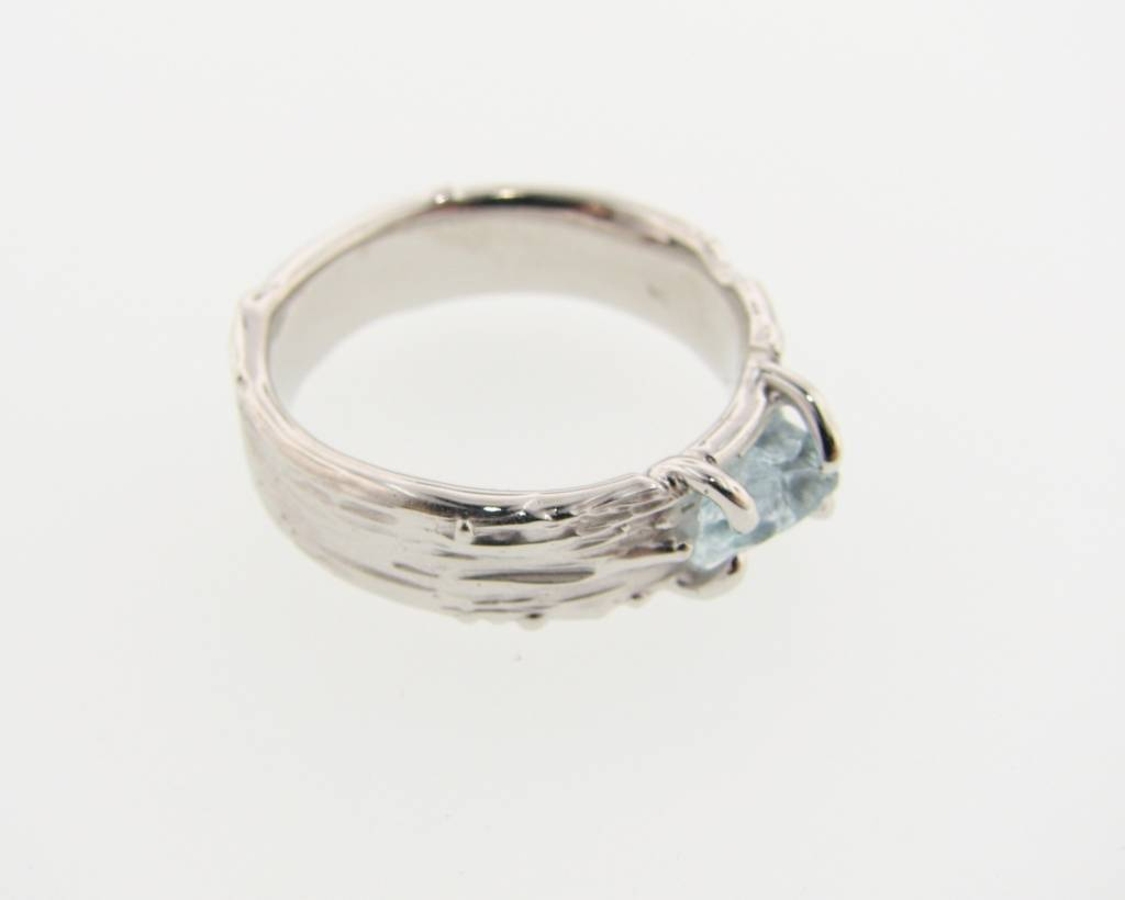 Rustic Raw Aquamarine Silver Ring, Birch Bark