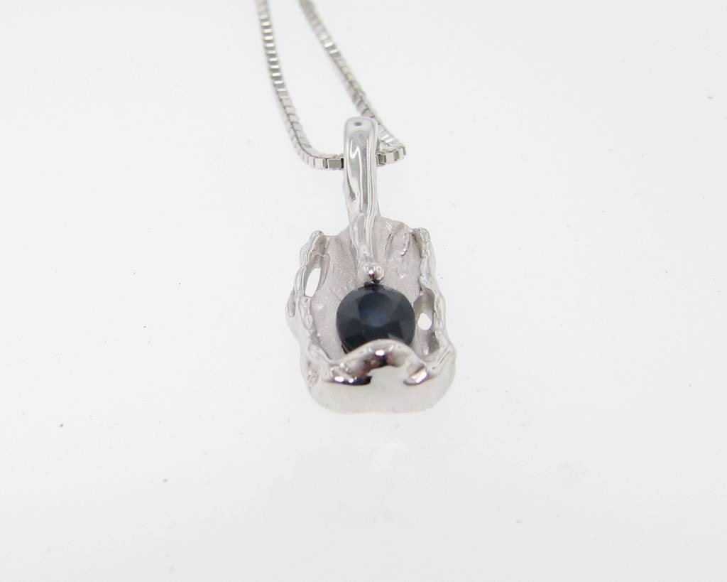 Rustic Blue Sapphire Silver Pendant, Melted