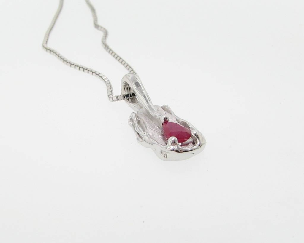 Rustic Ruby Silver Pendant, Melted