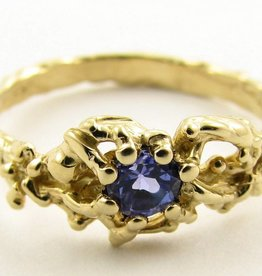 Organic Tanzanite Yellow Gold Ring, Organic