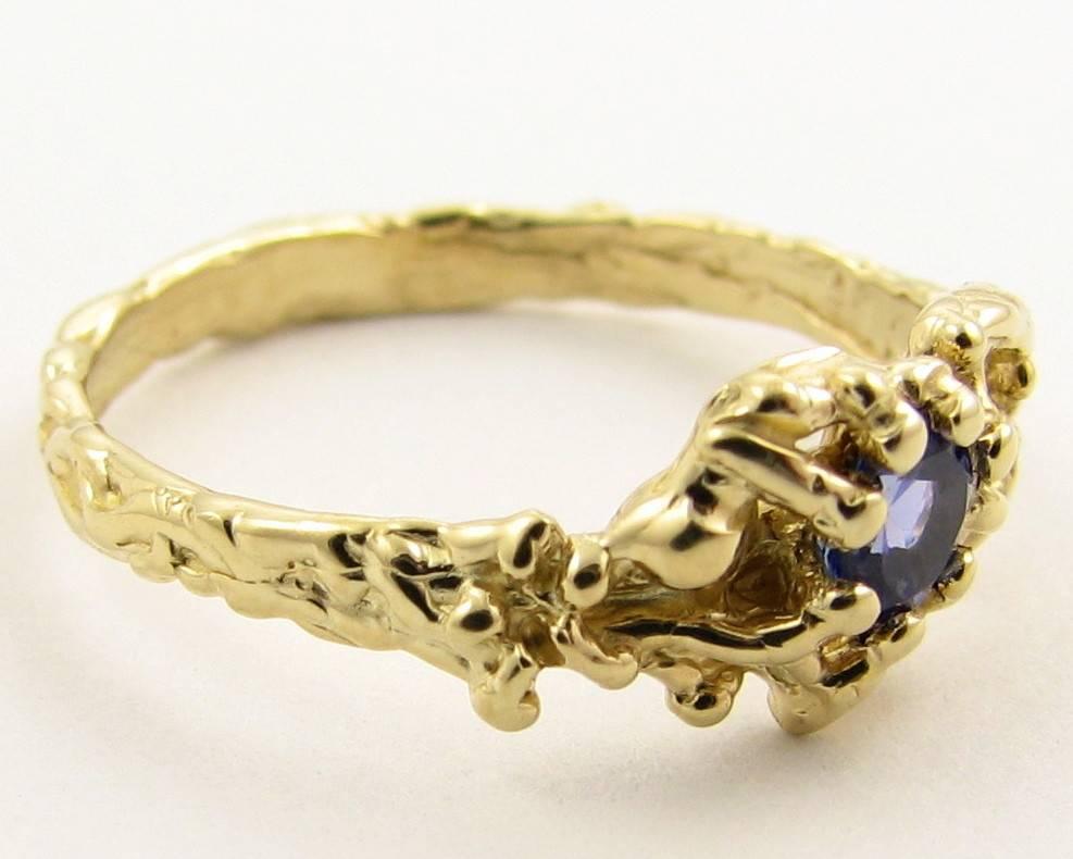 Organic Tanzanite Yellow Gold Ring, Organic