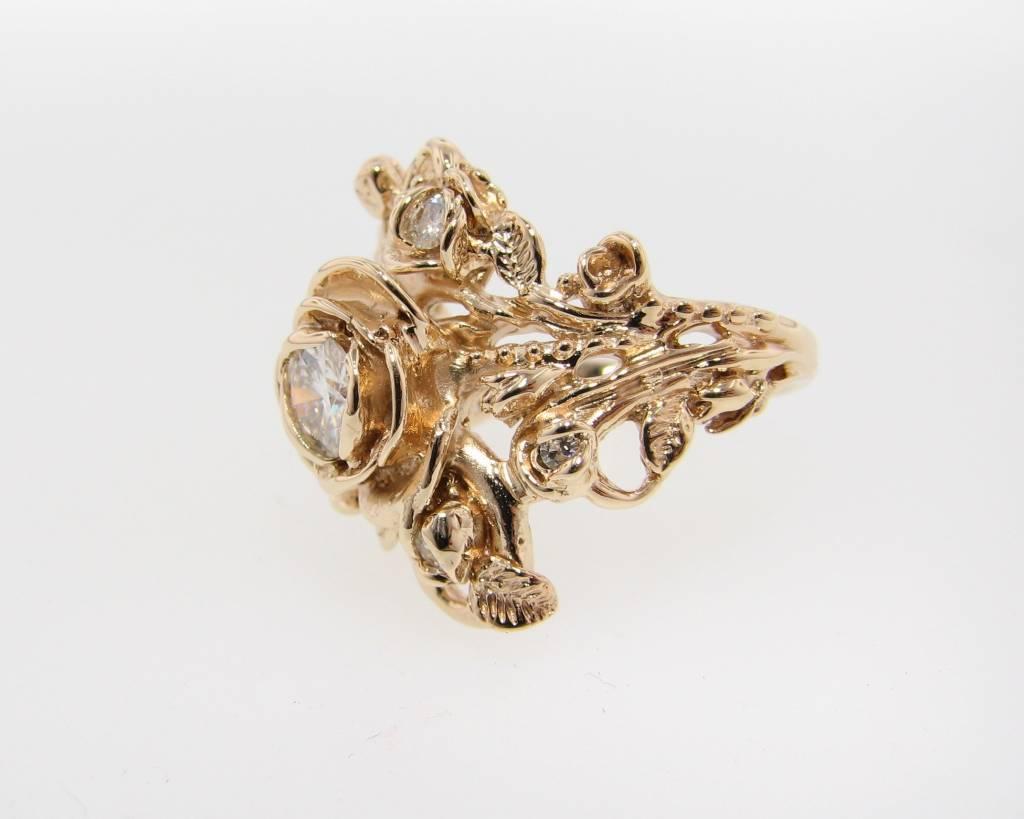Signature Rose Yellow Gold Moissanite Wedding Ring, Jane Rose