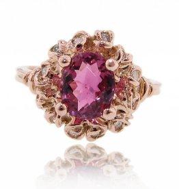 Signature Rose Pink Tourmaline Rose Gold Ring, Wreath