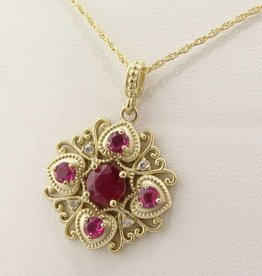 Vintage Yellow Gold Ruby Pendant, Imperial