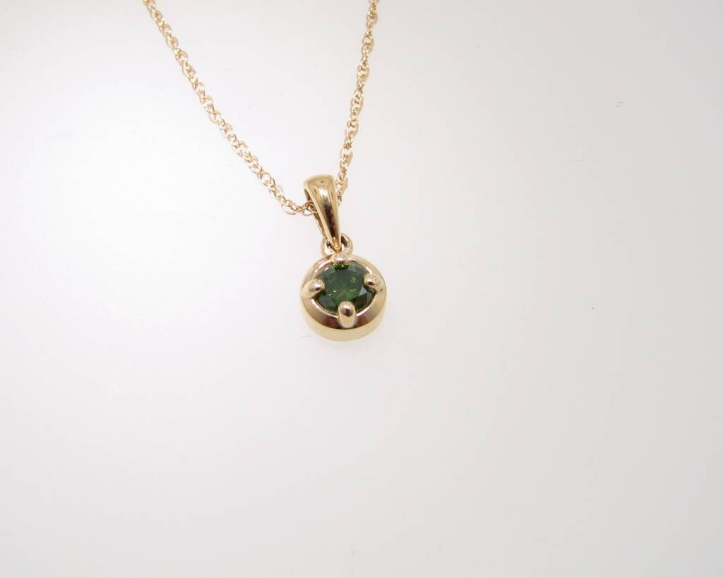 Sleek Yellow Gold Green Diamond Necklace