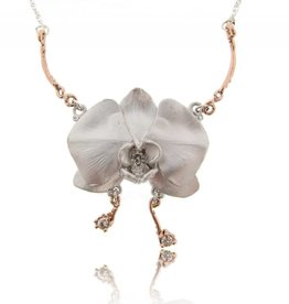 Organic Silver Rose Gold Orchid Pendant Antique Diamonds