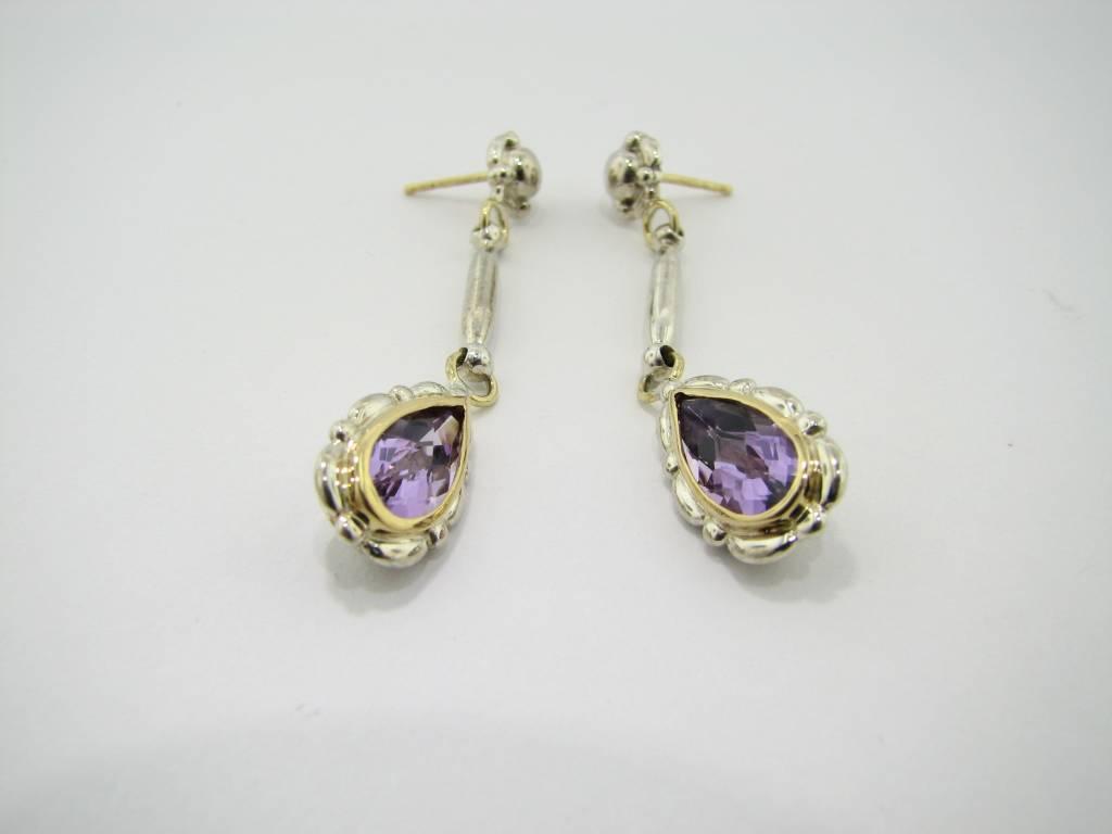 Vintage Amethyst Two-tone Dangle Earrings